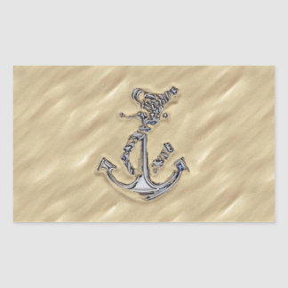 Chrome Rope Anchor in the Sand Rectangular Stickers