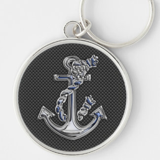 Chrome Rope Anchor on Carbon Fiber Key Chains