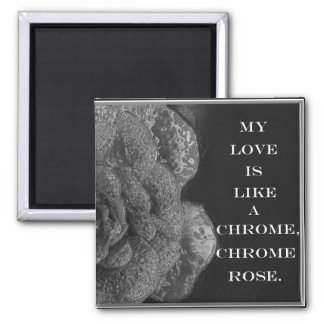Chrome Rose 2 Inch Square Magnet
