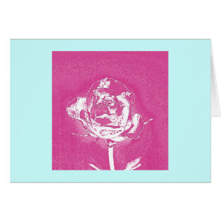 Chrome Rose on Pink Greeting Card