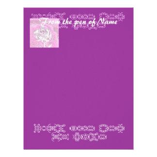 Chrome Rose on Purple Letterhead