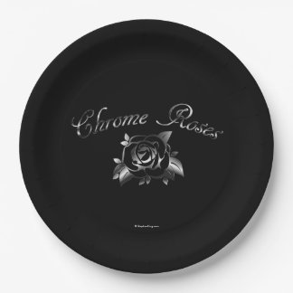 Chrome Roses Paper Plate