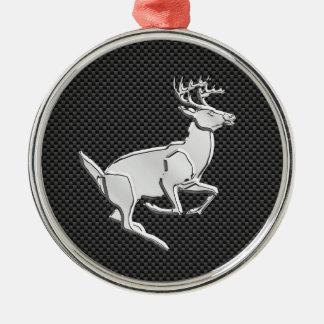Chrome Running Deer on Carbon Fiber Decor Metal Ornament