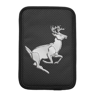 Chrome Running Deer on Carbon Fiber Print Sleeve For iPad Mini