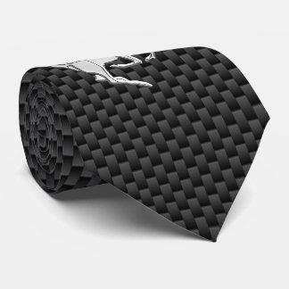Chrome Running Deer on Carbon Fiber Print Tie