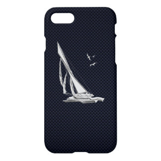 Chrome Sail Boat on Carbon Fiber iPhone 8/7 Case