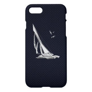 Chrome Sail Boat on Carbon Fiber iPhone 8/7 Case