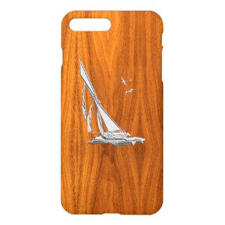 Chrome Sail Boat on Teak Wood iPhone 7 Plus Case