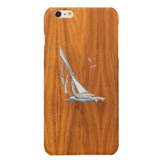 Chrome Sail Boat on Teak Wood Print Glossy iPhone 6 Plus Case