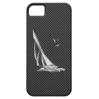 Chrome Sailboat on Carbon Fiber iPhone 5 Covers