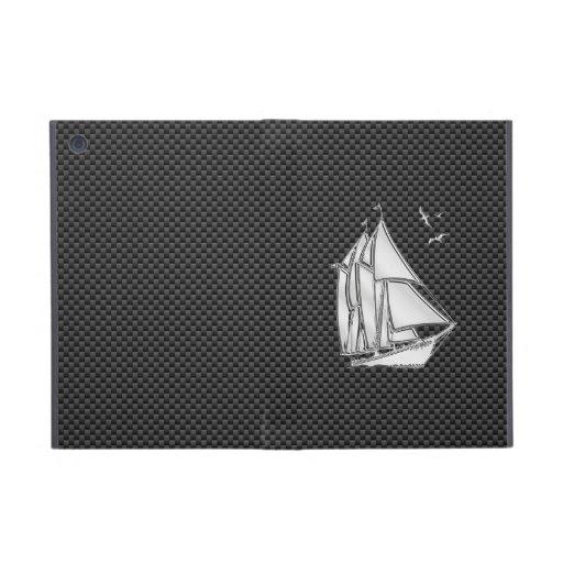 Chrome Sailboat on Carbon Fiber Cases For iPad Mini