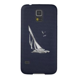 Chrome Sailboat on Carbon Fiber Print Galaxy S5 Cases