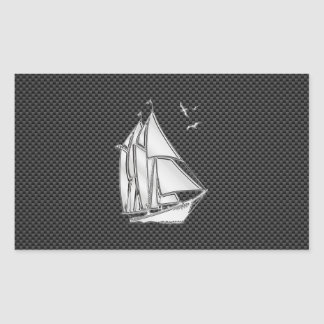 Chrome Sailboat on Carbon Fiber Rectangle Stickers