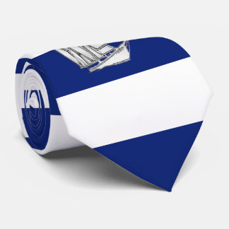 Chrome Sailboat on Nautical navy blue Stripes Neck Tie