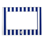 Chrome Sailboat on Nautical Stripes Picture Frame Magnets