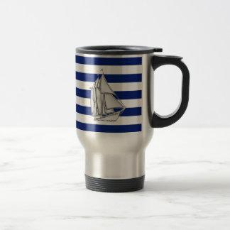 Chrome Sailboat on Nautical Stripes Travel Mug