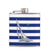 Chrome Sailboat on Navy Stripes Hip Flasks