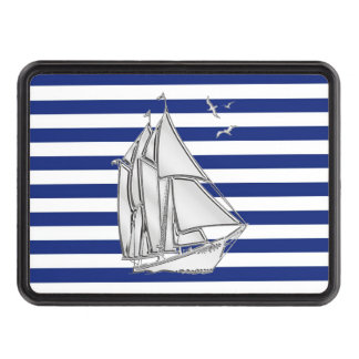 Chrome Sailboat on Navy Stripes Print Hitch Trailer Hitch Cover