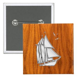 Chrome Sailboat on Teak Veneer Pinback Buttons