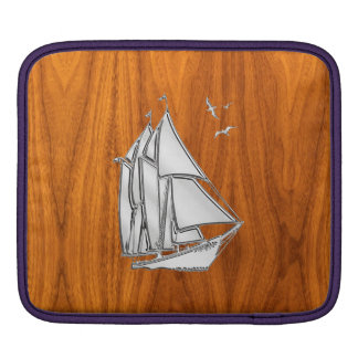 Chrome Sailboat on Teak Veneer iPad Sleeves