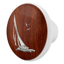 Chrome Sailing on Nautical Mahogany Grain Print Ceramic Knob