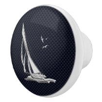 Chrome Sailing on Nautical Navy Carbon Fiber Print Ceramic Knob