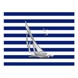 Chrome Sailing on Nautical Stripes Postcard