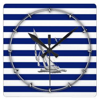 Chrome Sailing on Nautical Stripes Square Wall Clock