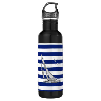 Chrome Sailing on Nautical Stripes Stainless Steel Water Bottle