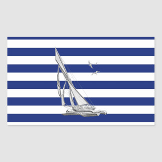 Chrome Sailing on Nautical Stripes Stickers