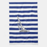 Chrome Sailing on Nautical Stripes Towels