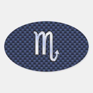Chrome Scorpio Zodiac Sign on Blue Carbon Fiber Oval Sticker