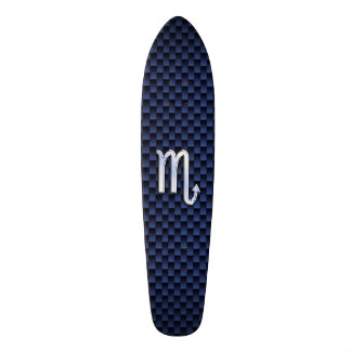 Chrome Scorpio Zodiac Sign on Blue Carbon Fiber Skateboard Deck