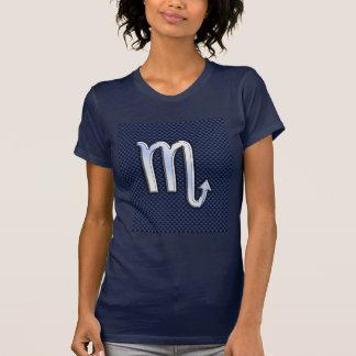 Chrome Scorpio Zodiac Sign on Blue Carbon Fiber T-Shirt