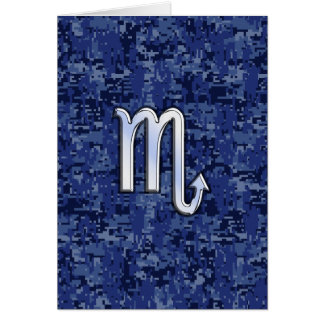 Chrome Scorpio Zodiac Sign on Navy Blue Camo Card