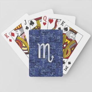Chrome Scorpio Zodiac Sign on Navy Blue Camo Deck Of Cards