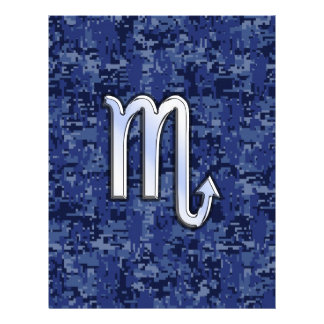 Chrome Scorpio Zodiac Sign on Navy Blue Camo Flyer