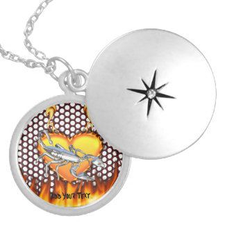 Chrome scorpion design 1 with fire round locket necklace