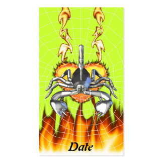 Chrome scorpion design 3 with fire and web business cards