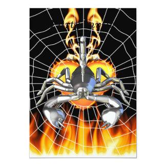 "Chrome scorpion design 3 with fire and web 5"" x 7"" invitation card"