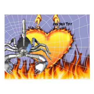 Chrome scorpion design 3 with fire and web postcard