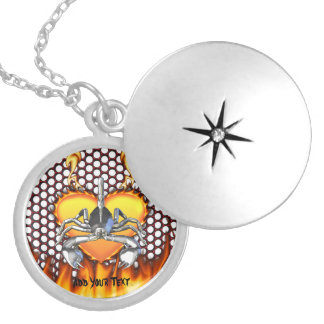 Chrome scorpion design 3 with fire round locket necklace