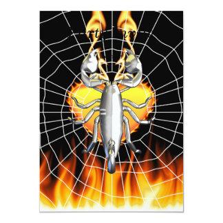 "Chrome scorpion design 4 with fire and web 5"" x 7"" invitation card"