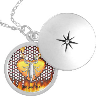 Chrome scorpion design 4 with fire round locket necklace