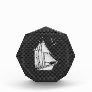 Chrome Silver Like Sailboat on Carbon Fiber Acrylic Award