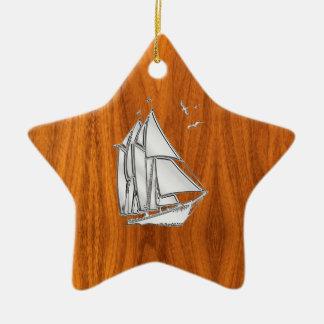 Chrome Silver like Sailboat on Teak Veneer Ceramic Ornament