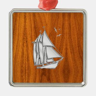 Chrome Silver like Sailboat on Teak Veneer Metal Ornament