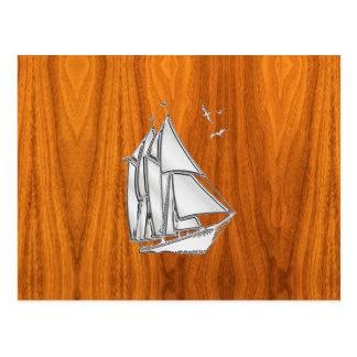 Chrome Silver like Sailboat on Teak Veneer Postcard