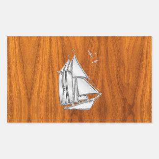 Chrome Silver like Sailboat on Teak Veneer Rectangular Sticker