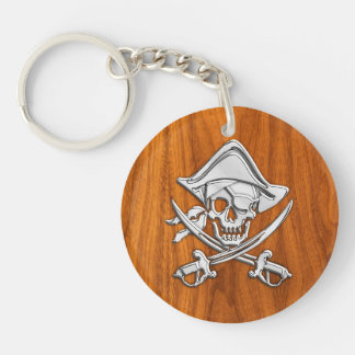 Chrome Silver Pirate on Teak Veneer Decor Keychain